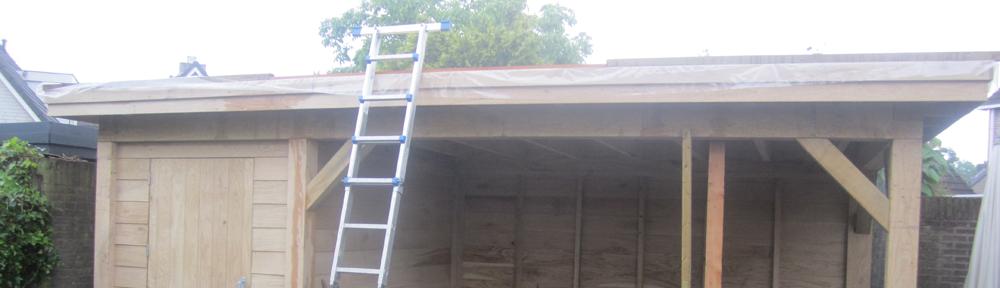 Tuinhuis van eiken hout en kuststof dakbedekking uitgevoerd door <strong>Aldak dakbedekkingen</strong> en Van Dal houthandel  [gallery </br></br><a href=http://www.al-dak.be/?p=138><strong>Lees meer »</strong></a>